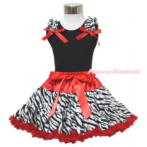 Black Pettitop Zebra Ruffles Red Bow & Red Zebra Pettiskirt MW12