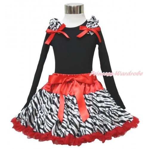Black Long Sleeve Top Zebra Ruffles Red Bow & Red Zebra Pettiskirt MW619