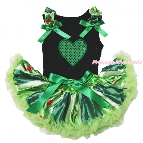 Valentine's Day Black Baby Pettitop Anna Coronation Ruffles Kelly Green Bow & Sparkle Kelly Green Heart Print & Anna Green Coronation Newborn Pettiskirt NG1625