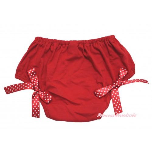 Hot Red Bloomer & Minnie Dots Bow B112