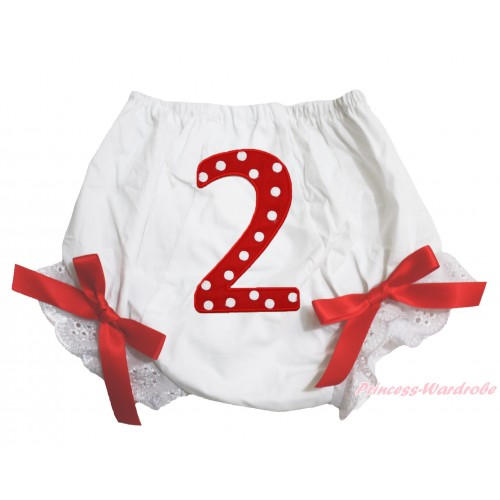 2nd Red Polka Dots Birthday Number Panties Bloomers with Red Bow BC65