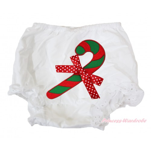 White Bloomers & Christmas Stick & Minnie Dots Bow BC80