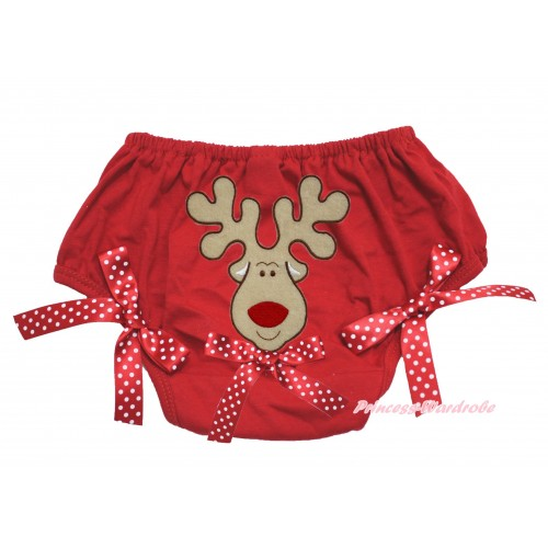 Xmas Red Bloomer & Christmas Reindeer & Minnie Dots Bow Print & Minnie Dots Bow BL134