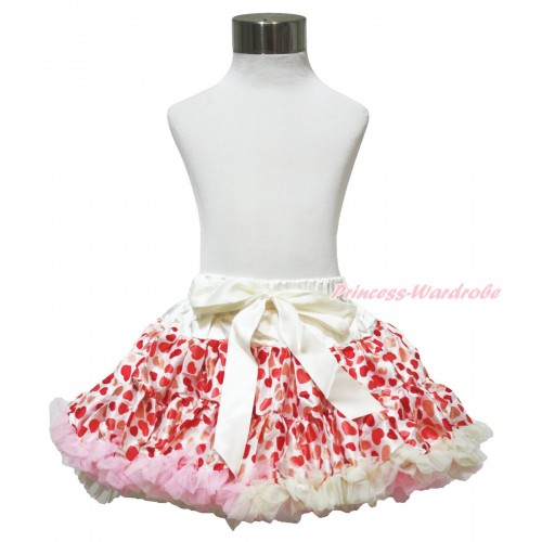 Cream White Light Pink Sweet Heart Full Pettiskirt P121