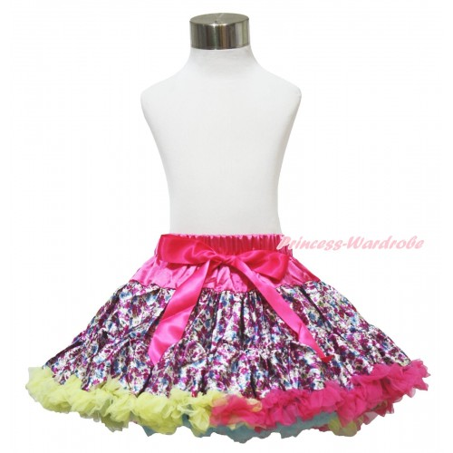 Hot Pink Rainbow Floral Fusion Full Pettiskirt P124