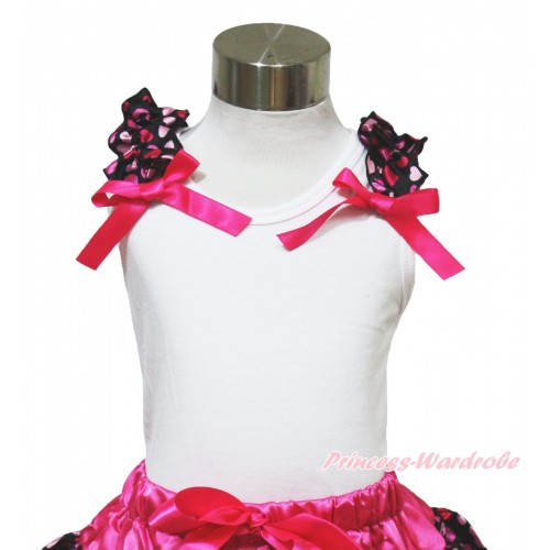 White Tank Top with Hot Light Pink Heart Ruffles and Hot Pink Bow TB621