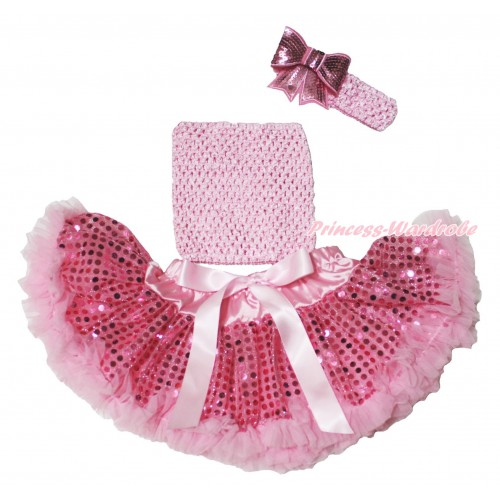 Light Pink Sparkle Bling Sequins Baby Pettiskirt, Light Pink Crochet Tube Top,Light Pink Headband Sequins Bow 3PC Set CT689