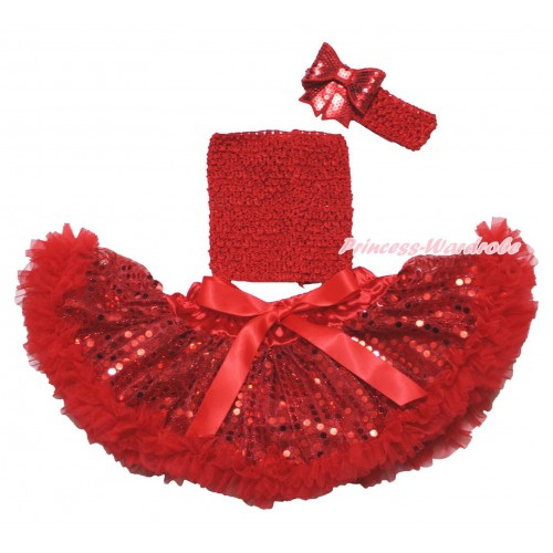 Hot Red Sparkle Bling Sequins Baby Pettiskirt, Red Crochet Tube Top,Red Headband Sequins Bow 3PC Set CT690