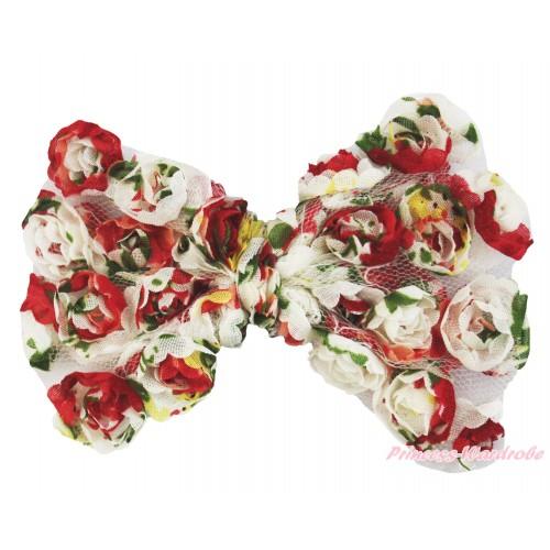 Rainbow Romantic Rose Bow Hair Clip H944