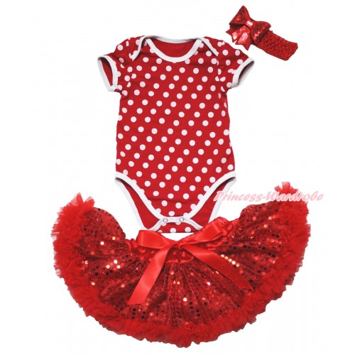 Minnie Dots Baby Jumpsuit & Sparkle Bling Red Sequins Newborn Pettiskirt & Red Headband Sequins Bow JN45