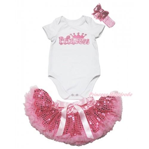 White Baby Jumpsuit & Princess Print & Sparkle Bling Light Pink Sequins Newborn Pettiskirt & Light Pink Headband Sequins Bow JN51