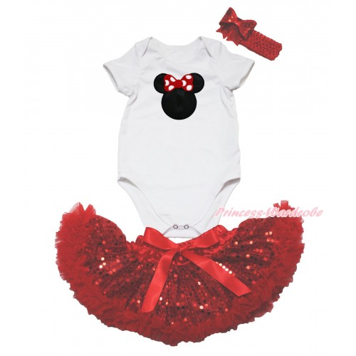 White Baby Jumpsuit & Red Minnie Print & Sparkle Bling Red Sequins Newborn Pettiskirt & Red Headband Sequins Bow JN57