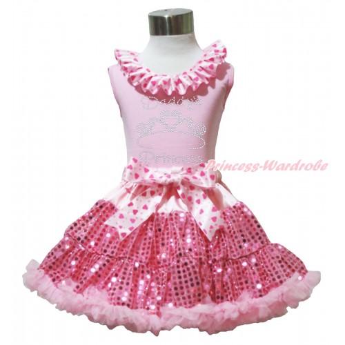 Valentine's Day Light Pink Tank Top Light Hot Pink Heart Lacing & Sparkle Rhinestone Daddy's Princess Print & Bling Light Pink Sequins Pettiskirt M605