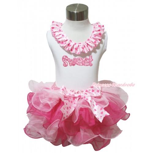White Baby Pettitop Light Hot Pink Heart Lacing & Sweet Print & Pink Heart Bow Light Hot Pink Petal Newborn Pettiskirt NG1637