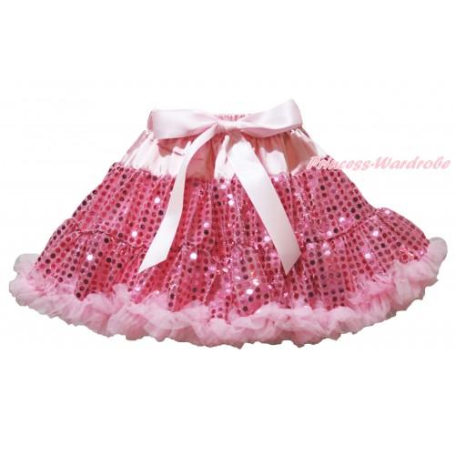 Sparkle Light Pink Bling Sequins Full Pettiskirt P196