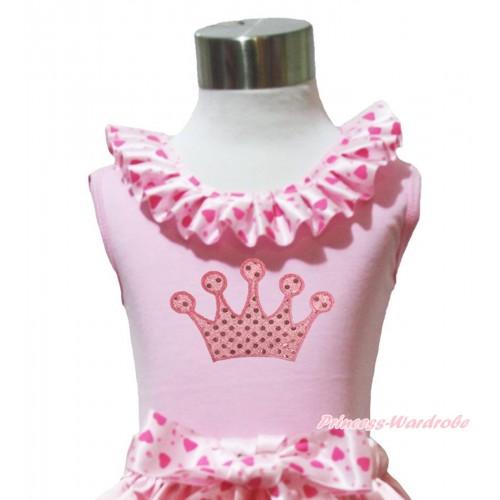 Light Pink Tank Tops Light Hot Pink Heart Satin Lacing & Sparkle Light Pink Crown Print TP231