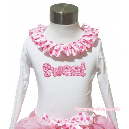 White Long Sleeves Top Light Hot Pink Heart Lacing & Sweet Print TW563