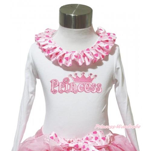 White Long Sleeves Top Light Hot Pink Heart Lacing & Princess Print TW567