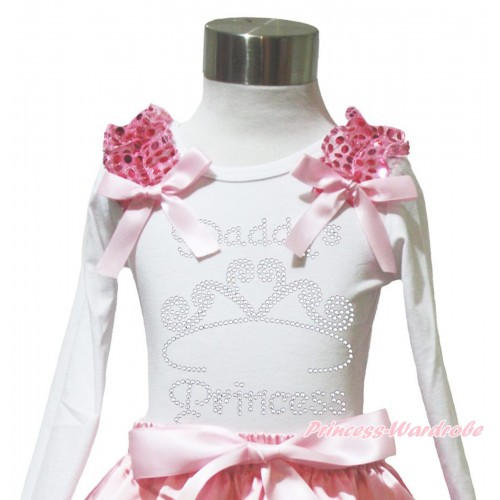 Valentine's Day White Long Sleeves Top Light Pink Sequins Ruffles Light Pink Bow & Sparkle Rhinestone Daddy's Princess TW570