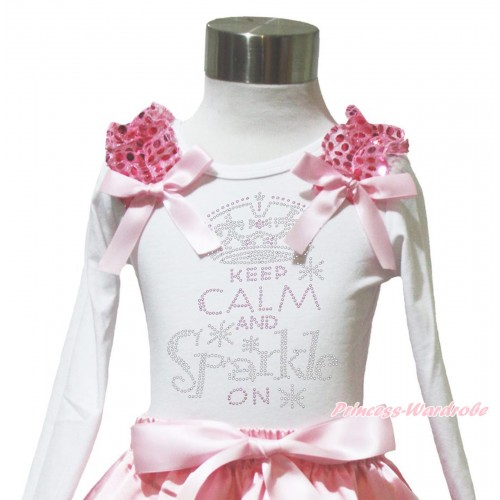 White Long Sleeves Top Light Pink Sequins Ruffles Light Pink Bow & Sparkle Rhinestone Keep Calm And Sparkle On TW572