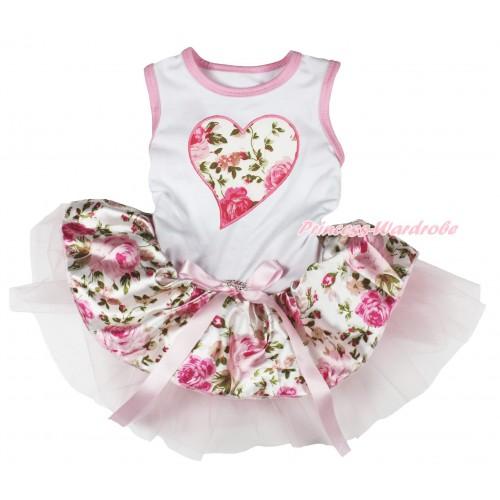 Valentine's Day White Sleeveless Light Pink Rose Fusion Gauze Skirt & Light Pink Rose Heart Print & Light Pink Rhinestone Bow Pet Dress DC202