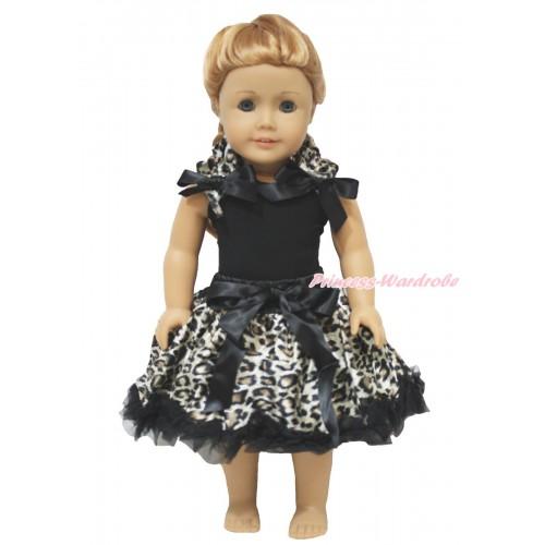 Black Tank Top Leopard Ruffles Black Bow & Black Leopard Pettiskirt American Girl Doll Outfit DO067