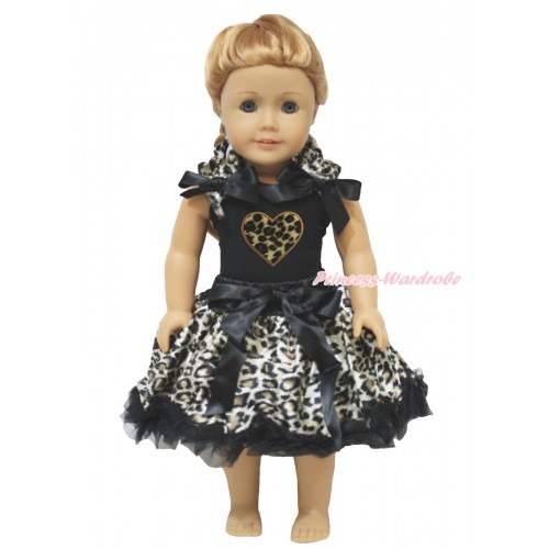 Valentine's Day Black Tank Top Leopard Ruffles Black Bows & Leopard Heart & Black Leopard Pettiskirt American Girl Doll Outfit DO072