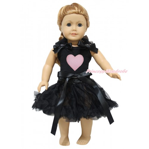 Valentine's Day Black Tank Top Black Ruffles & Bows & Light Pink Heart & Black Pettiskirt American Girl Doll Outfit DO073