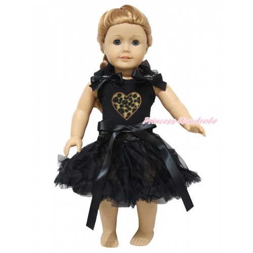 Valentine's Day Black Tank Top Black Ruffles & Bows & Leopard Heart & Black Pettiskirt American Girl Doll Outfit DO074