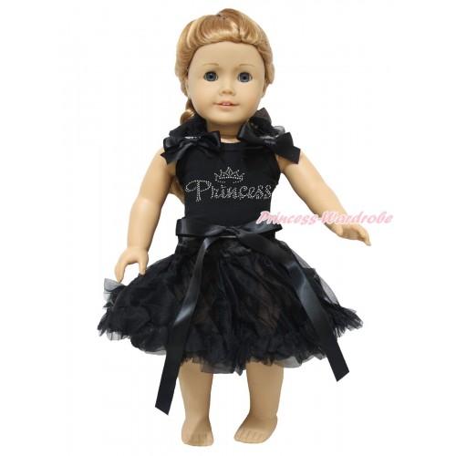 Black Tank Top Black Ruffles & Bows & Sparkle Rhinestone Princess & Black Pettiskirt American Girl Doll Outfit DO075