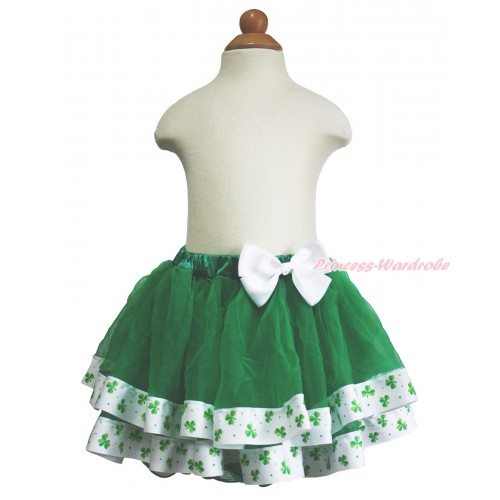 St Patrick's Day Kelly Green Clover Satin Trimmed Tutu Full Pettiskirt & White Bow B275