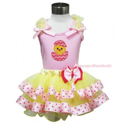Easter Light Pink Baby Pettitop Yellow Ruffles Light Pink White Dots Bow & Chick Egg Print & Light Hot Pink Bow Yellow Light Hot Pink Dots Satin Trimmed Tutu Baby Pettiskirt BG191