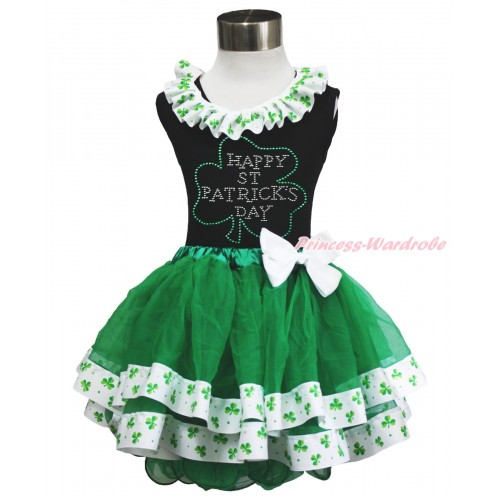 St Patrick's Day Black Tank Top Clover Satin Lacing & Rhinestone Clover Print & White Bow Kelly Green Clover Satin Trimmed Tutu Pettiskirt MG1478