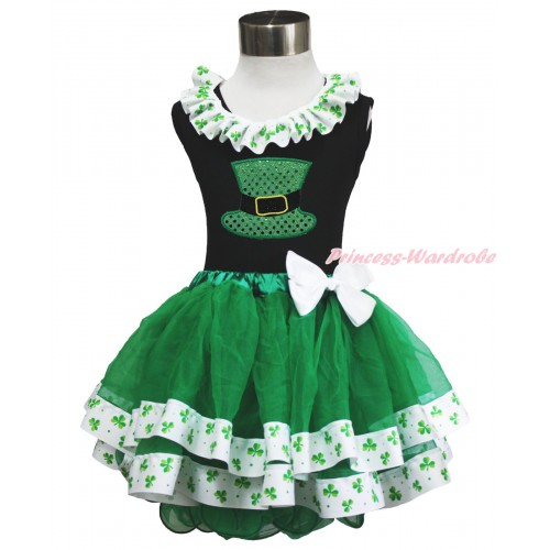 St Patrick's Day Black Tank Top Clover Satin Lacing & Sparkle Kelly Green Hat Print & White Bow Kelly Green Clover Satin Trimmed Tutu Pettiskirt MG1480