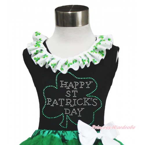 St Patrick's Day Black Tank Top Clover Satin Lacing & Sparkle Rhinestone Clover Print TB1039