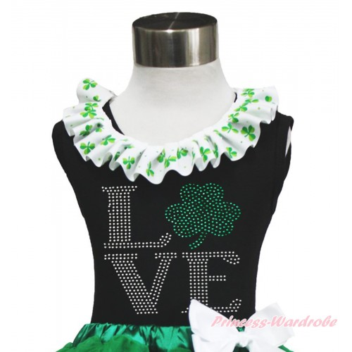 St Patrick's Day Black Tank Top Clover Satin Lacing & Sparkle Rhinestone Love Clover Print TB1040