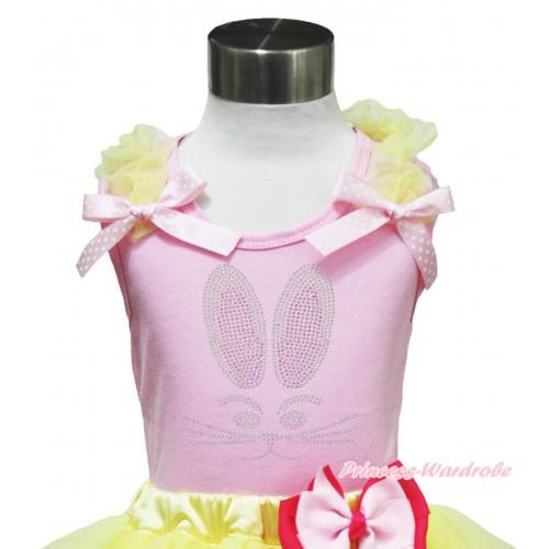 Easter Light Pink Tank Top Yellow Ruffles Light Pink White Dots Bow & Rhinestone Bunny Rabbit Print TP236