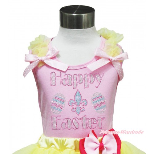Easter Light Pink Tank Top Yellow Ruffles Light Pink White Dots Bow & Rhinestone Happy Easter Print TP237
