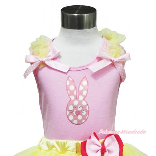 Easter Light Pink Tank Top Yellow Ruffles Light Pink White Dots Bow & Light Pink White Dots Rabbit Print TP239