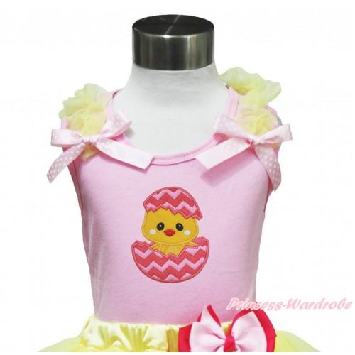 Easter Light Pink Tank Top Yellow Ruffles Light Pink White Dots Bow & Chick Egg Print TP240