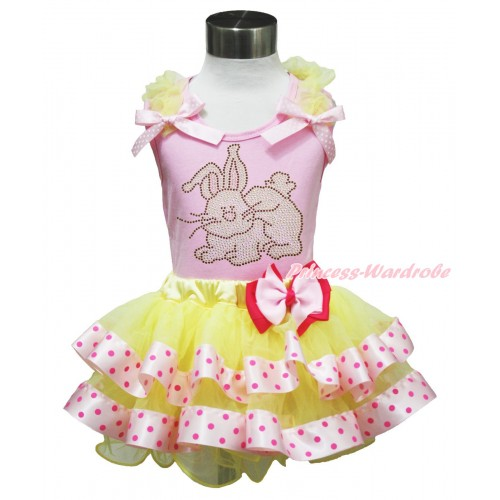 Easter Light Pink Baby Pettitop Yellow Ruffles Light Pink White Dots Bow & Rhinestone Grey Rabbit Print & Light Hot Pink Bow Yellow Light Hot Pink Dots Satin Trimmed Tutu Baby Pettiskirt BG194