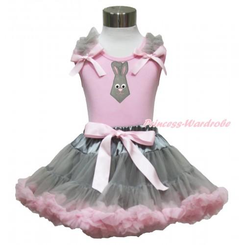 Easter Light Pink Tank Top Grey Ruffles Light Pink Bow & Grey Rabbit Tie Print & Grey Light Pink Pettiskirt M616