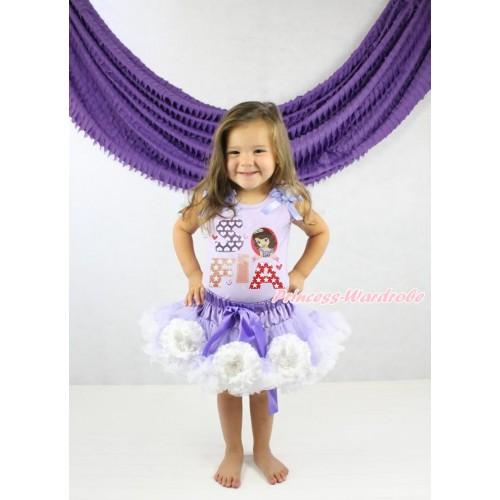 Lavender Tank Top White Ruffles Lavender Bow & Princess Sofia Painting & Lavender White Peony Pettiskirt MN141