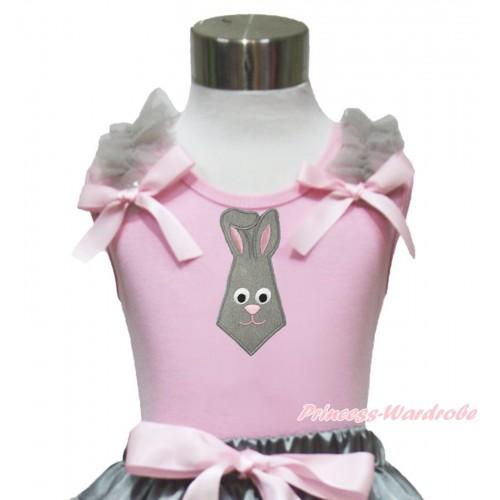 Easter Light Pink Tank Top Grey Ruffles Light Pink Bow & Grey Rabbit Tie Print TP243