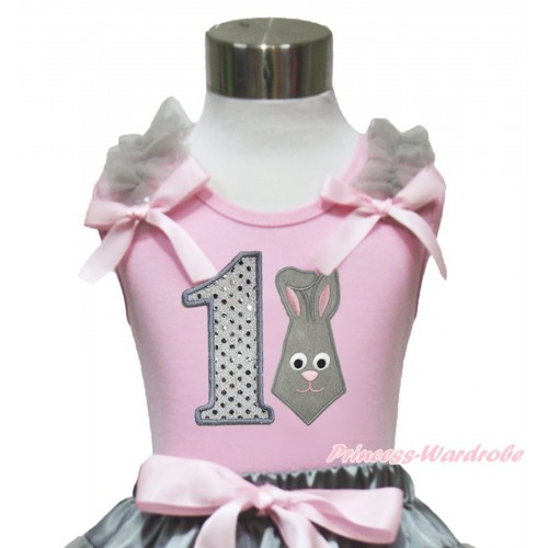 Easter Light Pink Tank Top Grey Ruffles Light Pink Bow & 1st Sparkle White Birthday Number Grey Rabbit Print TP244