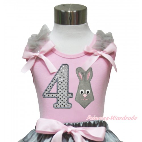 Easter Light Pink Tank Top Grey Ruffles Light Pink Bow & 4th Sparkle White Birthday Number Grey Rabbit Print TP247