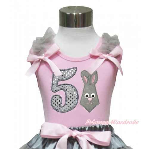 Easter Light Pink Tank Top Grey Ruffles Light Pink Bow & 5th Sparkle White Birthday Number Grey Rabbit Print TP248