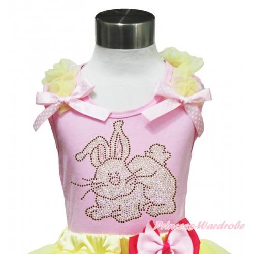 Easter Light Pink Tank Top Yellow Ruffles Light Pink White Dots Bow & Rhinestone Grey Rabbit Print TP250