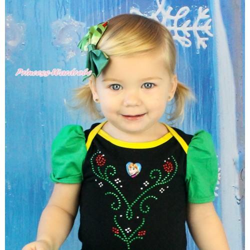 Frozen Princess Anna Coronation Green Satin Bow Hair Clip H986