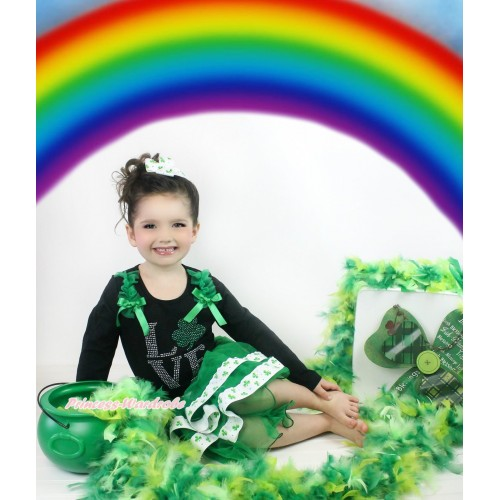 St Patrick's Day Black Baby Pettitop Kelly Green Ruffles & Bows & Rhinestone Love Clover Print & White Bow Kelly Green Clover Satin Trimmed Tutu Newborn Pettiskirt NG1649